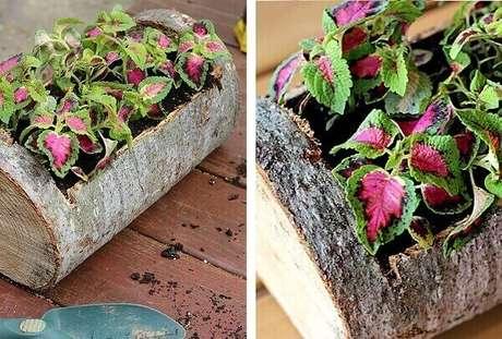 57. Floreira rústica feita com tronco de árvore. Fonte: Pinterest