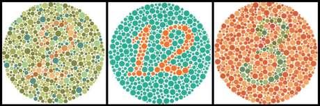 O teste deIshihara pode diagnosticar daltonismo; nessa imagem, pessoas com a condição conseguiriam ver apenas o número 12.