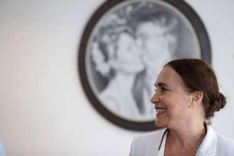 Regina Duarte em visita ao Palácio do Planalto.