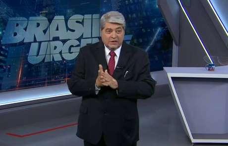 O apresentador José Luiz Datena durante o 'Brasil Urgente' de 27 de janeiro de 2020.