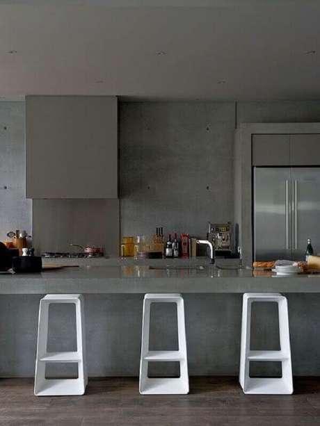 22. Decoração com banquetas modernas com design arrojado para cozinha toda cinza planejada – Foto: Pinterest