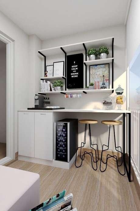 31. Modelos de banquetas modernas com design arrojado para decoração de área gourmet pequena – Foto: Construção e Design