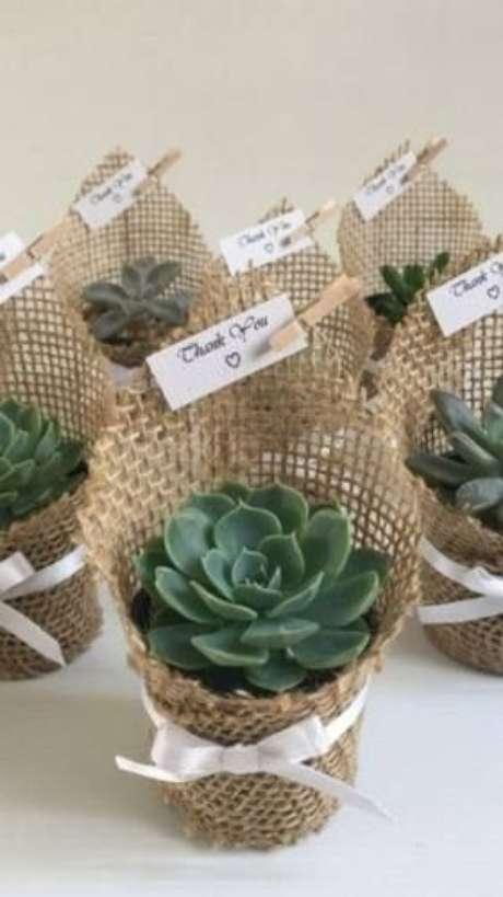 10. As suculentas são lindas para lembrancinha de mesa – Via: Articulo Mercado Livre