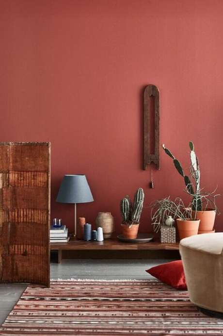 11. Cor de parede terracota para ambiente decorado com vários vasinhos de plantas – Foto: Mil Ideas
