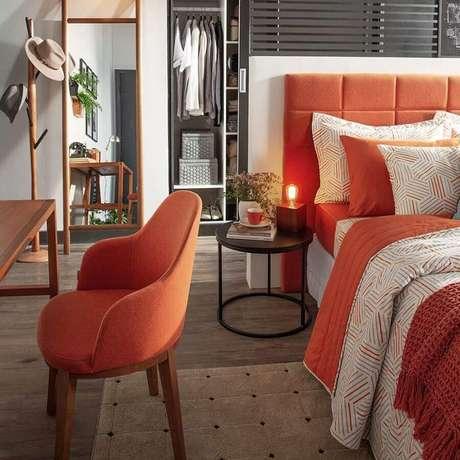 25. Cor terracota para decoração de quarto moderno – Foto: Pinterest