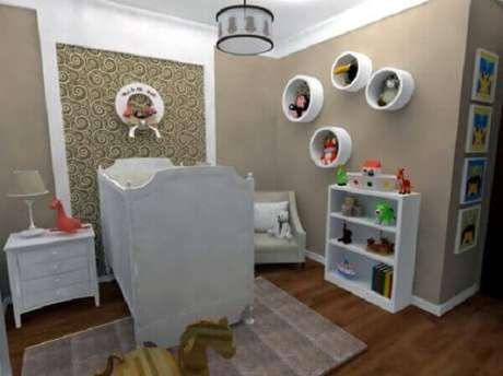 11- A decoração clássica tem nichos de parede para quarto de bebê. Fonte: Solo Infantil