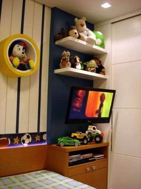 15- Os nichos para quarto infantil podem acomodar tv´s e brinquedos. Fonte: Pinterest