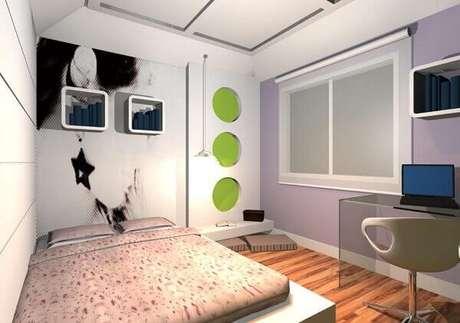 34- Os nichos retangulares com as extremidades arredondadas complementam a decoração moderna do quarto de solteiro. Fonte: Juliana Lahoz