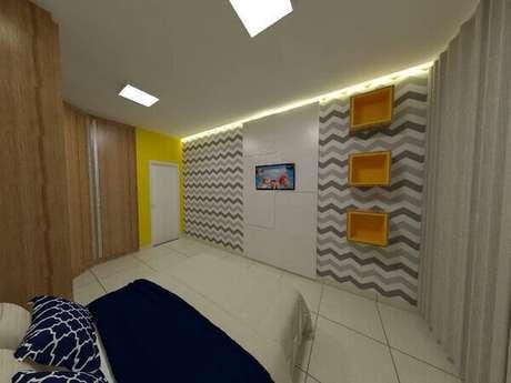 35- Os nichos de parede para quarto de casal decoram o ambiente. Fonte: Juliana Juliao da Mata