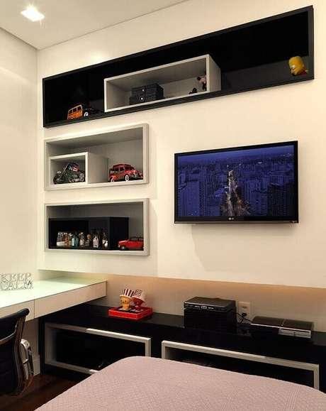 41- Os nichos para quarto decoram o ambiente de adolescente. Fonte: Pinterest