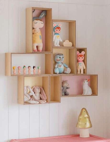 63- Os nichos para quarto infantil têm formas retangulares. Fonte: Adoro Decorar