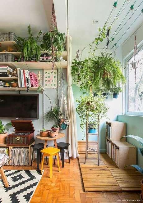 2. Sala de estar decorada com plantas ornamentais de sombra – Foto: Histórias de Casa