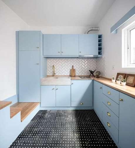 71. Cores para cozinha azul – Foto: Casa Vogue