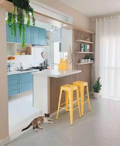 5. Cores para cozinha azul e amarela – Projeto: Arquiteta Giovanna