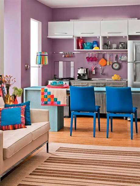 7. Cores para cozinha azul e lilás – Foto: Casa Abril