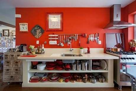 37. Cores para cozinha moderna vermelha.