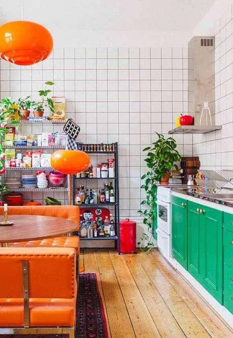 43. Cores para cozinha verde e laranja – Via: Decor Fácil