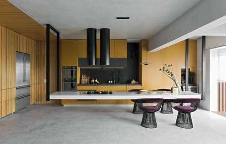 50. Cores para cozinha roxa e amarela – Projeto: Diego Revollo