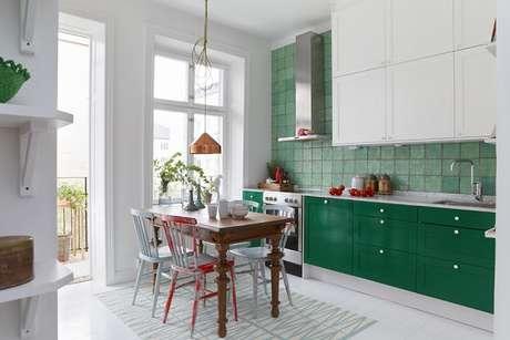 4. As cores para cozinha em verde representam a natureza, tranquilidade e bem-estar.