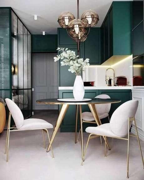 59. Cores para cozinha verde e branca – Foto: My Living Interior