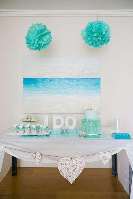 9- Decoração de noivado caso o casal tenha se conhecido na praia. Fonte: Pinterest