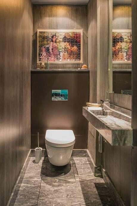 12. Modelo de pia esculpida em rampa para banheiro pequeno – Foto: Vivons Maison