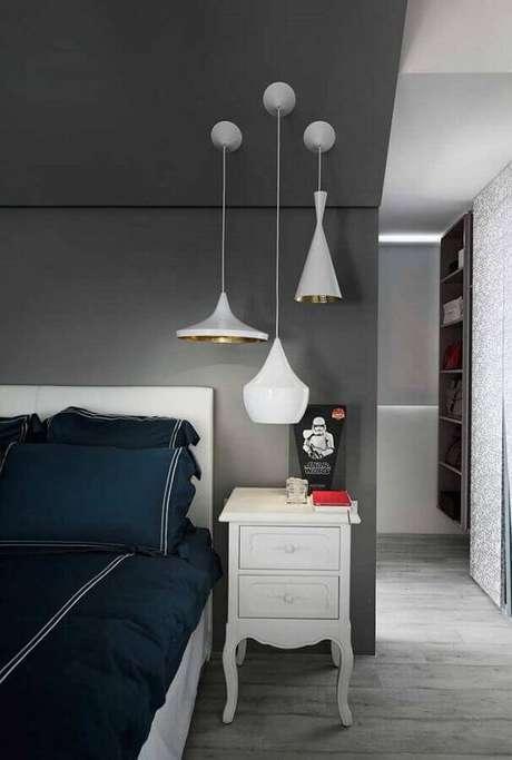 10. Tons de azul, cinza e verde são muito presentes em modelos de quarto masculino – Foto: Home Fashion Trend