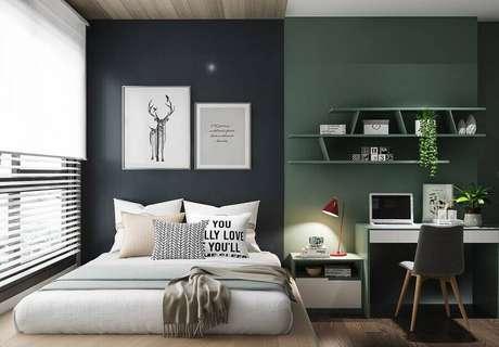 43. Modelos de quarto modernos decorados com parede de duas cores – Foto: Pinterest