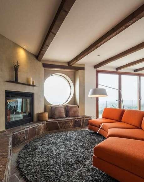 2 Saiba como escolher o tapete redondo para a sua sala de estar – Foto: Pinterest