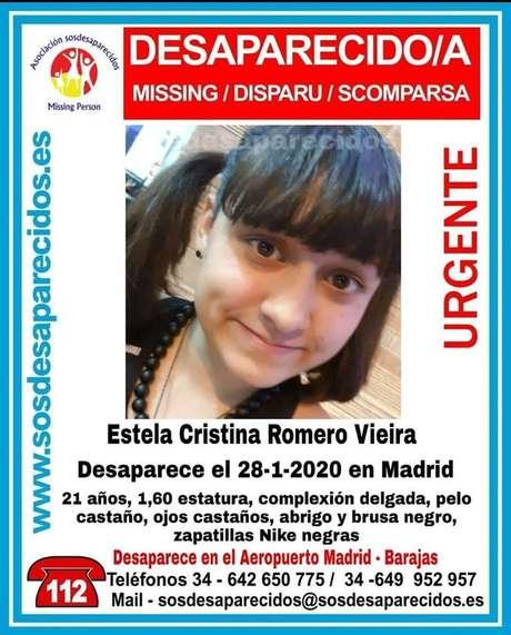 Site de buscas espanhol divulgou retrato e pede informações sobre o paradeiro da brasileira Estela Cristina Romero Vieira
