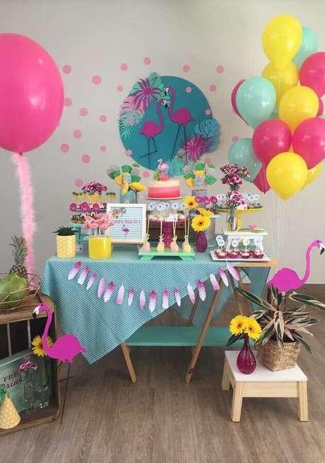 37. Decoração de festa flamingo simples – Foto: Pra Gente Miúda Criações