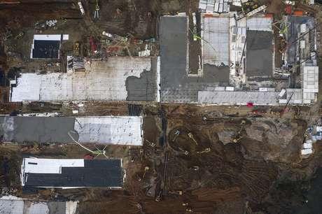 Vista aérea da construção do Hospital Huoshenshan