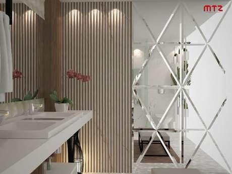 69. Espelho para banheiro com parede inteira espelhada. Projeto de Maria Tereza Zucoloto