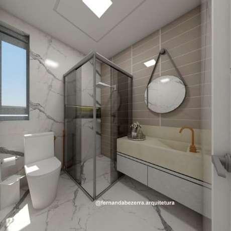 """61. Espelho para banheiro redondo """"pendurado"""". Projeto de Fernanda Bezerra"""