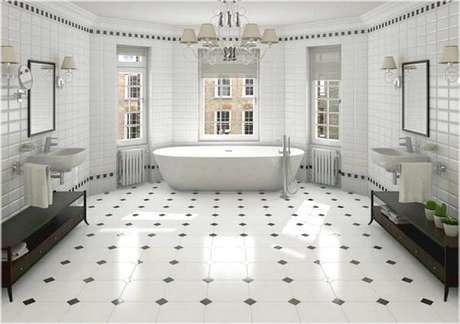 32. Cerâmica para banheiro grande e sofisticado.