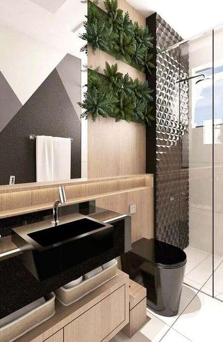 46. Cerâmica para banheiro com plantas – Via: Revista VD