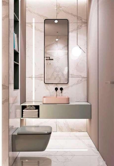 47. Cerâmica para banheiro rosa – Via: Ideias Decor