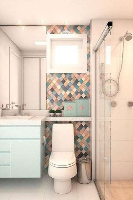 49. Cerâmica para banheiro em tons de azul – Via: Pinterest