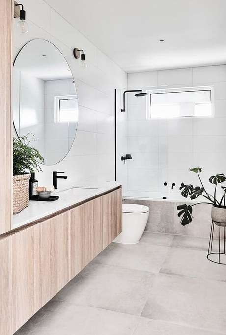 50. Banheiro clean e sofisticado – Via: Pinterest