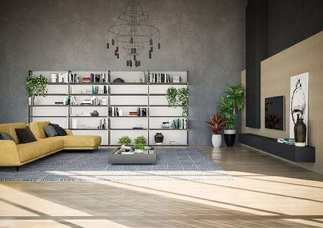 47. Sala de estar ampla com sofá amarelo com chaise. Fonte: Pinterest