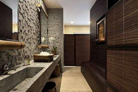 63. Cuba para banheiro esculpida na própria bancada de cimento. Projeto por: Eduarda Correa