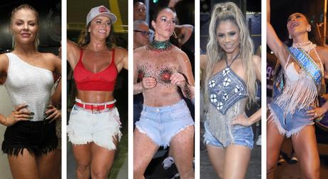 Famosas com shorts jeans no Carnaval (Foto: AgNews)