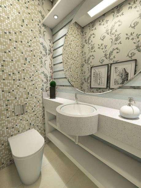 22. Cuba para banheiro circular que se encaixa perfeitamente na bancada planejada. Projeto por Ednilson Hinckel