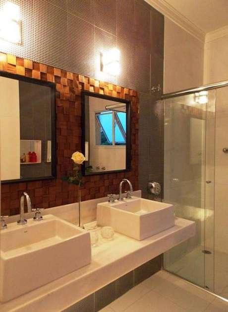 8. Cuba para banheiro com apoio quadradas, ideal para um ambiente moderno e jovial. Projeto por Lucia Vale