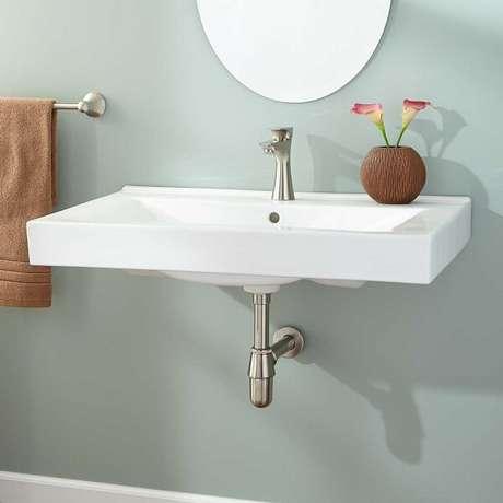 11. Modelo de cuba para banheiro de parede. Fonte: Pinterest