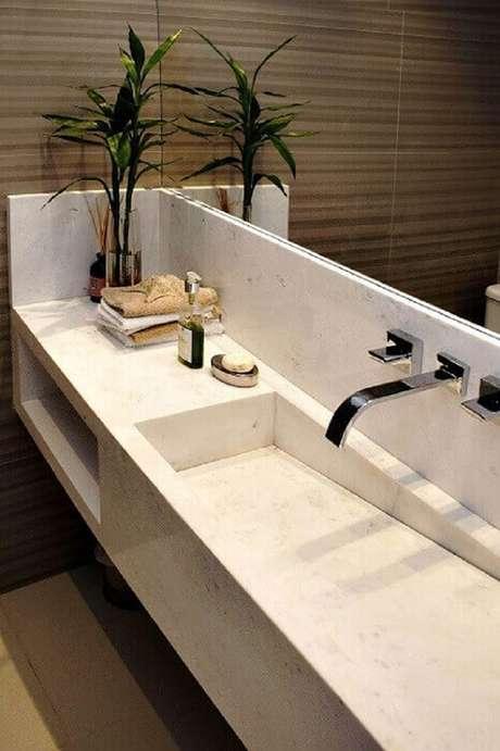 31. Elegante cuba para banheiro esculpida em mármore. Fonte: Pinterest