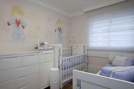 54. Decoração com papel de parede infantil para quarto de bebê com tema do Pequeno Príncipe