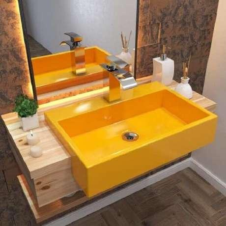 71. Modelo de cuba para banheiro de semi embutir colorida. Fonte: Pinterest