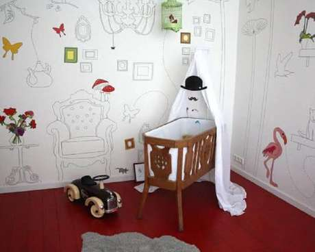 3. Modelo divertido e diferente de papel de parede infantil para quarto de bebê