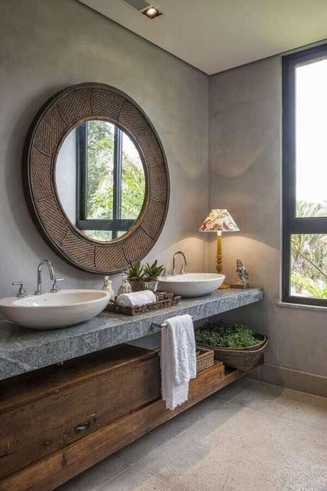 1. Modelo de cuba para banheiro branca de sobrepor. Projeto por: Gislene Lopes